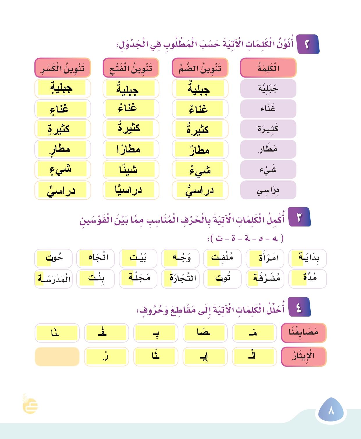 حل كتاب لغتي للصف ثالث ابتدائي الفصل الثاني