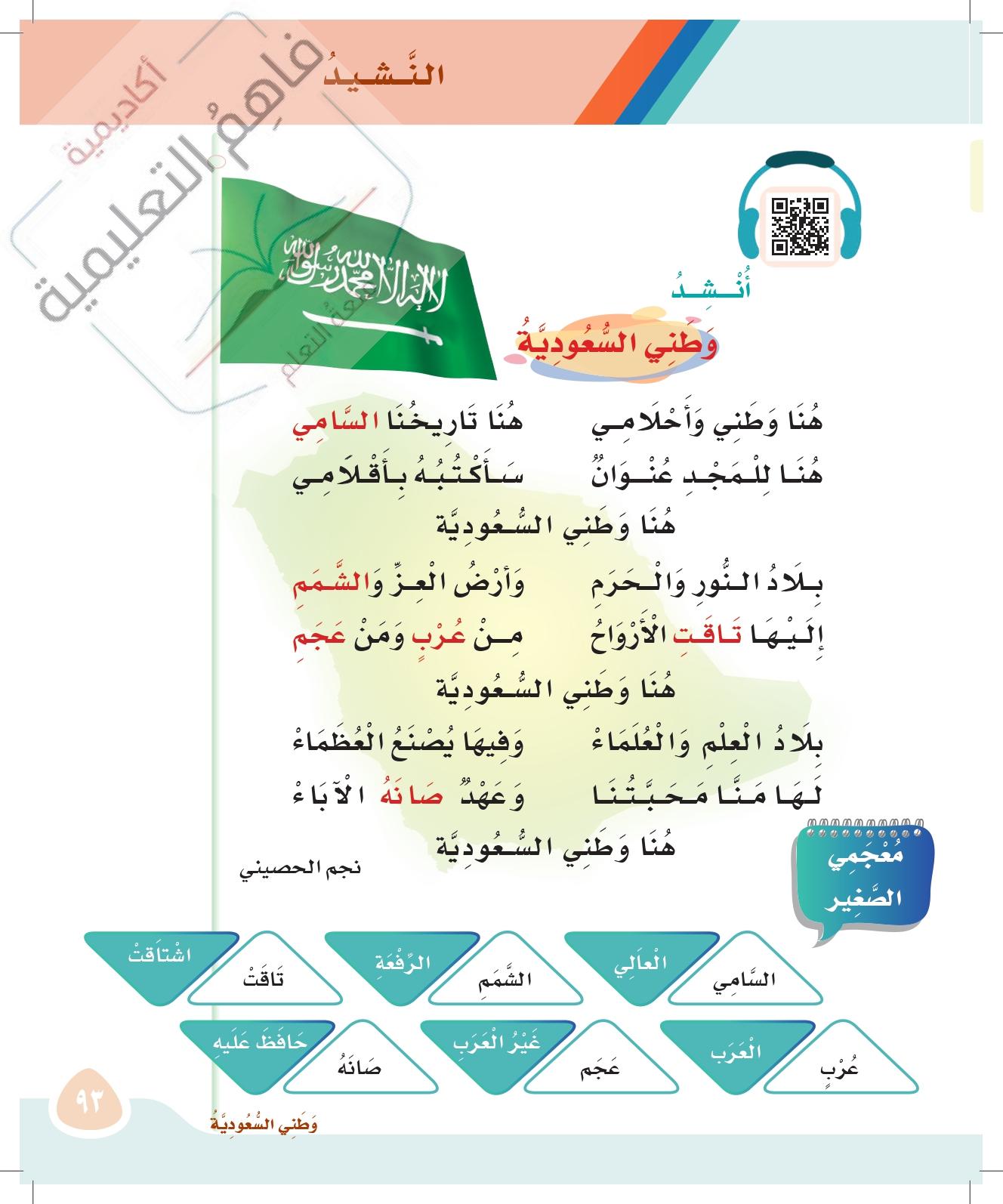 حل لغتي ثاني ابتدائي الوحدة الثالثة وطني السعودي صفحة 88 118