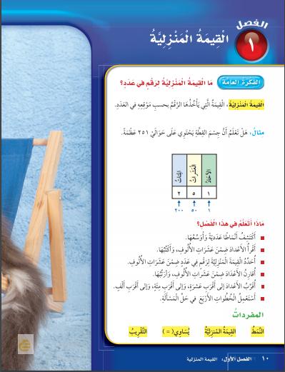 حل رياضيات الصف الثالث ابتدائي – الفصل (1) القيمة المنزلية