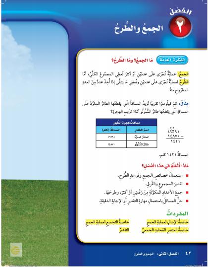 حل رياضيات رابع ابتدائي – الفصل  (2) الجمع والطرح – صفحة 44-71