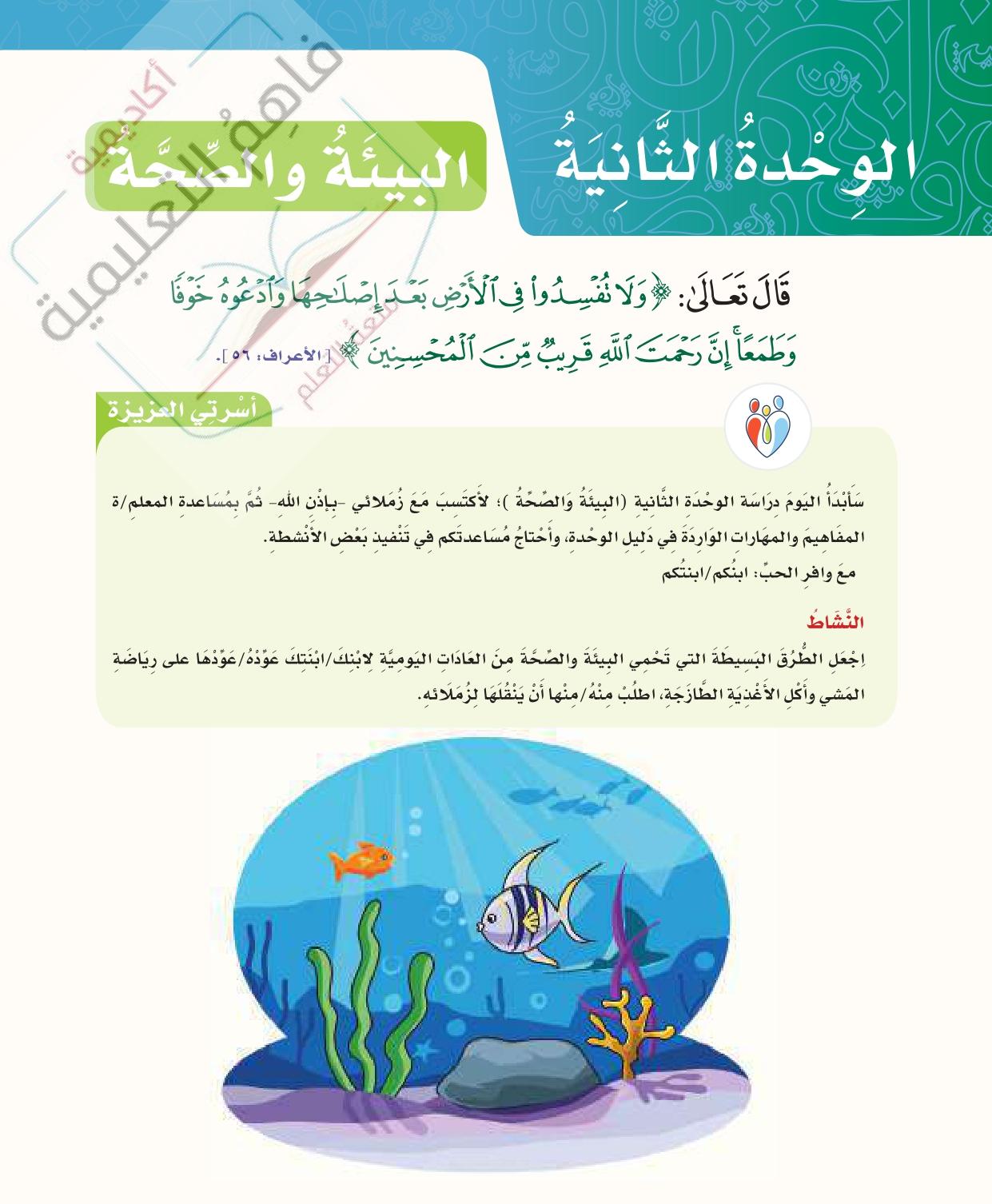 حل لغتي الصف الخامس- الوحدة الثانية – البيئة والصحة – صفحة 100-171