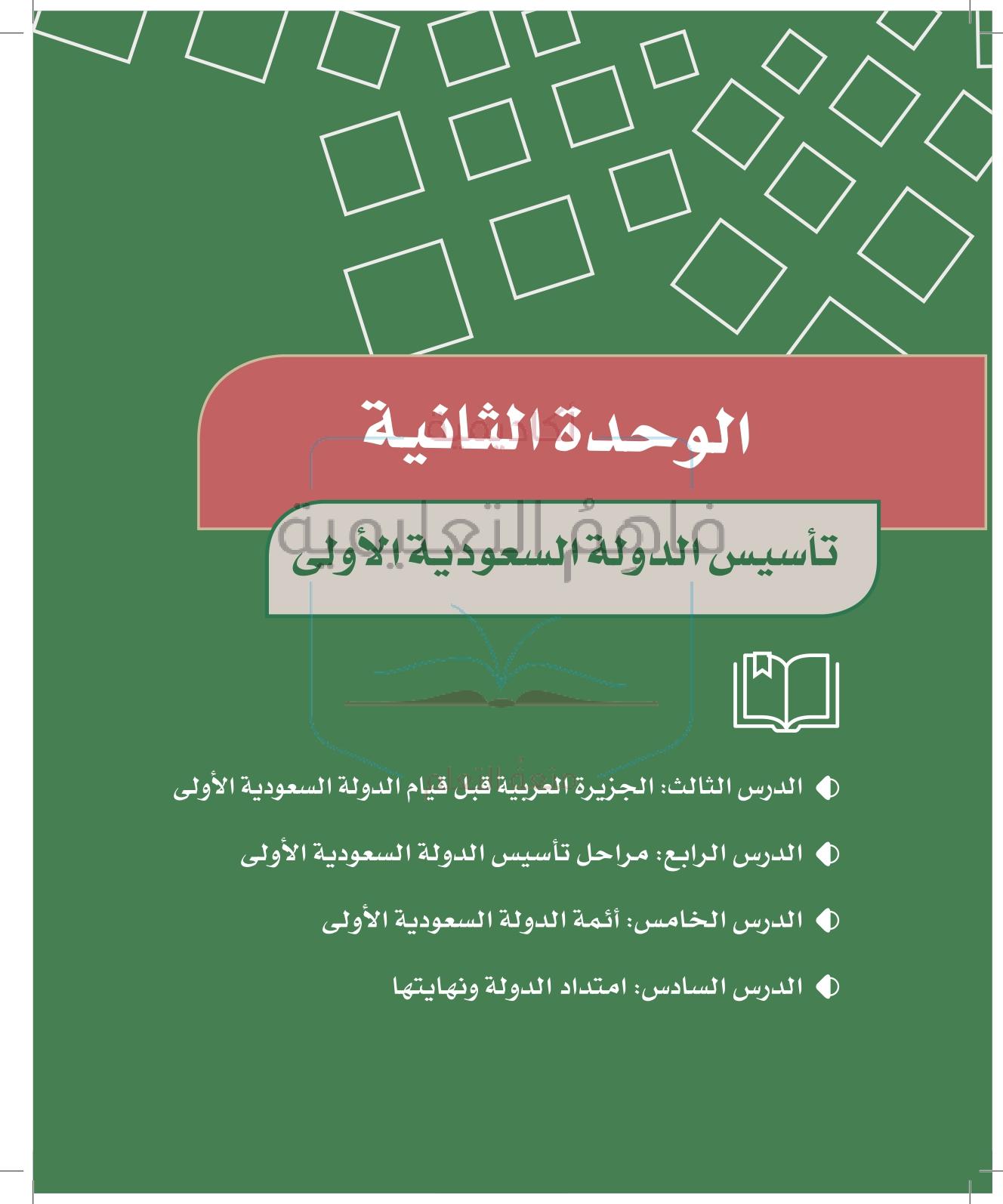 حل دراسات اجتماعية سادس – الوحدة (2) – الدولة السعودية الأولى – صفحة 26-64